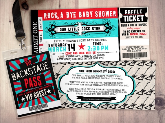 Rock star concert ticket baby shower invitation coed baby like this item filmwisefo Image collections