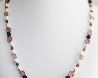Purple Glass Circles and Squares Necklace