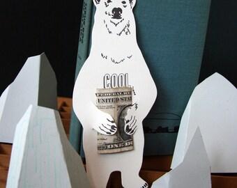 Polar bear letterpress gift card