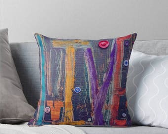 Original Childlike 'LIVE' Artwork Cushion Design with blues, oranges and buttons