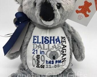 personalized baby gift, birth stat Koala, stuffed Koala Bear. baby girl, baby boy, baby shower gift, birth stat gift