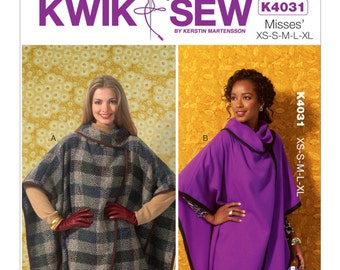 Sewing Pattern for Misses' Foldover Collar Wraps, Kwik Sew Pattern 4031, Womens Poncho Wraps, Cold Weather Wraps
