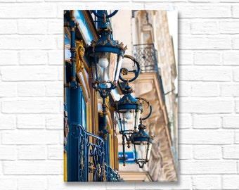 Paris Photograph on Canvas - Blue Lanterns on  Paris Architecture Photo, Gallery Wrapped Canvas, French Home Decor, Large Wall Art
