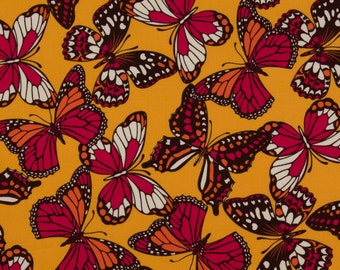 Josephine Kimberling OOP Fabric for Robert Kaufman  -  Hot Blossom Collection  -  Flutterby Kisses AJG-8886-194 in Fiesta  -  One Yard
