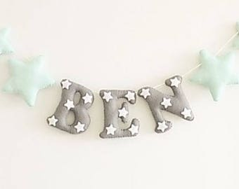 Mint green and grey name banner, name banner, name bunting, star name banner