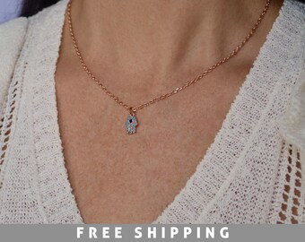 Tiny Rose Gold Hamsa hand necklace - Turquoise Hamsa Hand - Hamsa Hand Necklace - Hamsa Necklace - Tiny Hamsa Hand - Fatima hand Necklace