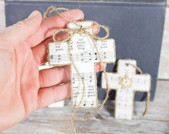 Set of 3 Hymn Cross Ornaments