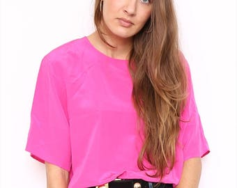 Vintage 90s Hot Pink Silk Top. Large. UK 16/18.