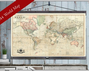 Large world map etsy vintage world map large world maps 40x60 or 44x72 hanging map printed on canvas gumiabroncs Gallery