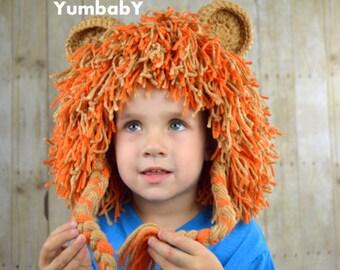 Lion Wig Halloween Costume Lion Hats Costumes for Kids- Burnt Orange and Light Brown