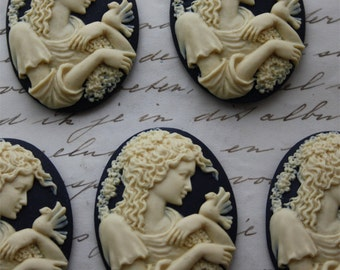 5 unset lady cameos - Ivory on black - 30x40mm