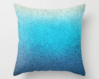 Beautiful Throw Pillow, Sea Glass mosaic,  teal, aqua,  colorful, modern, jewel tones, coastal decor, pillows, cushions, throw pillow