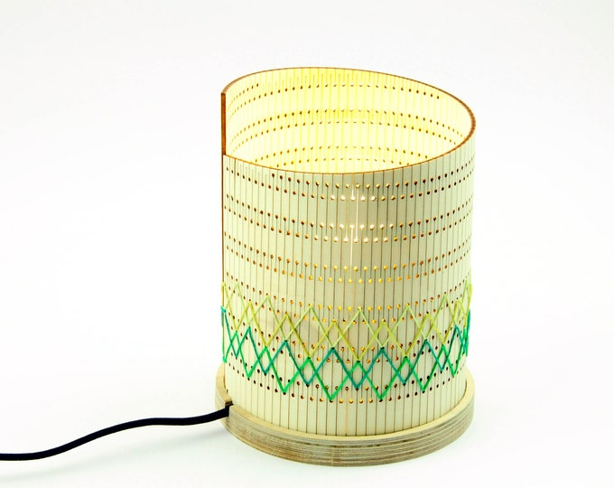 Featured listing image: Lamp design embroidered OMGlow pattern Itaugua > table lamp hand embroidered