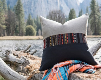 Gray and Navy Pillow with Accent Band