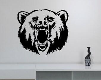 Roaring Bear Wall Sticker Vinyl Decal Hunting Wild Animal Art Decorations for Home Housewares Living Room Bedroom Dorm Office Decor br7