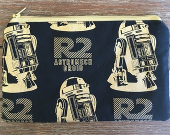 Star Wars Droid Robot R2D2 Gold Pencil Case / Make Up Bag