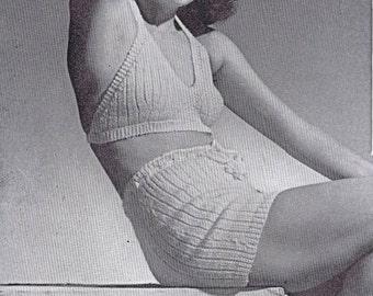 PDF Vintage Crochet Knitting eBook Patterns 40s Halter Shorts Hats Bags Bed Jackets Long Short Argyle Socks Slippers Gloves Columbia