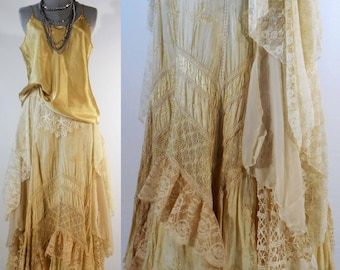 Vintage inspired Victorian Edwardian wedding skirt gypsy boho chic skirt upcycled altered cream rayon lace elastic waistband size med