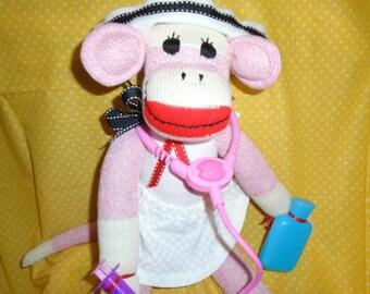RN/Nurse Classic Red Heel Pink Sock Monkey Doll