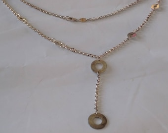 """Vintage necklace, sterling silver Italian Stefani St. Jacques """"Y"""" necklace with 925 discs"""