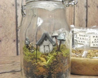 Terrarium Kit With Tiny House, Glow in the Dark Mushrooms and Lantern Live moss Terrarium Kit Handmade by Gypsy Raku
