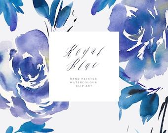 Watercolour Flower Clipart - Royal Blue