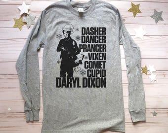 Unisex Daryl Dixon Crew Neck shirt. Ugly Christmas Sweater. Mens Walking Dead Christmas shirt. Women's Daryl Dixon Sweater