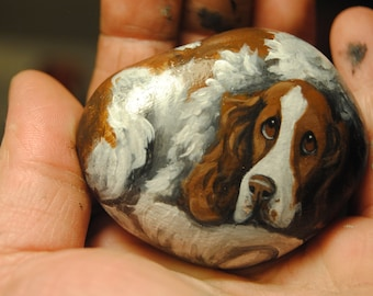 Hand Painted~RocK~~English Springer Spaniel~Dog~Original Painting~Whimsical~Stone~ART