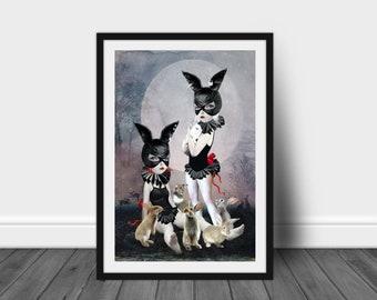 Rabbits Art Print   Big Eyed Girl & Rabbits   Pop Surrealism Art Print   A3 Art Print   Rabbit Rendezvous