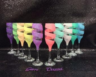 Swirl bridesmaid glitter glass pastel champagne flutes set of 6