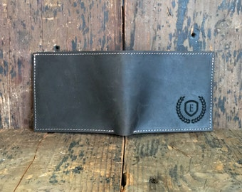 Mens Leather Wallet - Bifold Leather Wallet - Personalized Wallet for Men - Monogram