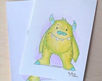 Original watercolor, friendly monster, 5 x 7