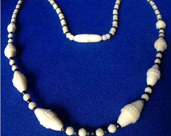 Art Deco Black and White Celluloid Necklace