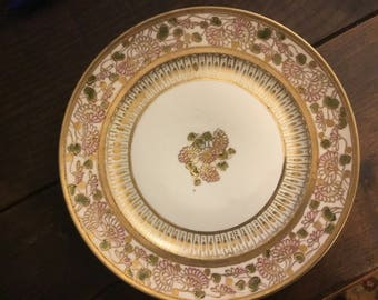 Handpainted Nippon.  Rare Antique Nippon China Plate, Gold Embellished.