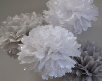 Anniversary Tissue Paper Pom Poms Party Decorations Set of 24 -  Your Colors