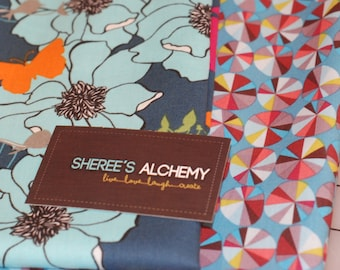 Novella  and Field Study Collections Modern Cotton Fat Quarter FQ Bundle 2 prints Navy Turquoise Pinwheel Floral Birds Quilting Sewing