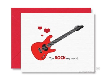 Love card / Anniversary Card / Guitar Card / Valentine Card / You Rock My World