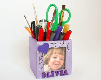Desk tidy, pencil pot, any name, picture frame, personalised frame, personalised desk tidy, personalised gift, wooden pen pot