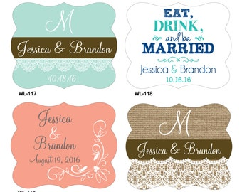 168 - 2.5 x 2 inch Die Cut Personalized Waterproof Mini Wine Bottle Wedding Labels - hundreds designs - change designs any color or wording