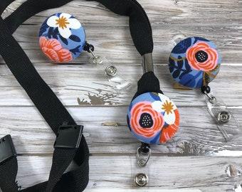 Teacher Lanyard ~ Flower Badge Reel ~ Retractable Badge ~ Floral Badge Reel ~ ID Badge Holder ~ ID Badge Reel ~ Nurse Badge Holder