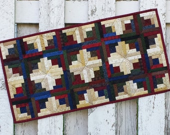 Quilted Table Runner (UNTRP) Log Cabin
