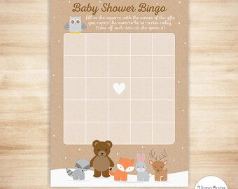 Woodland Baby Shower Bingo Cards - DIGITAL INSTANT DOWNLOAD - Winter Woodland Baby Shower Game - Forest Animals Baby Shower Game