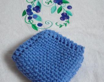 "Cotton Dish Cloth - Blueberry - Hand Knit - Medium 8"" Square - Mix and Match"