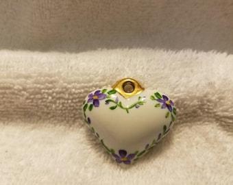Vintage Porcelain Heart Pendant with Purple Flowers