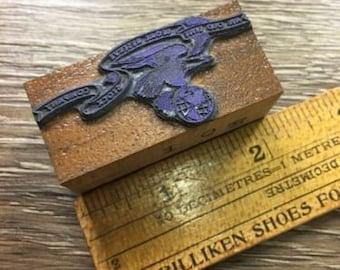 Vintage Letterpress Printer Block Eagle An Old Line Legal Reserve Stock Co Logo