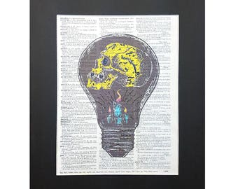 Wise Bulb Skull on Vintage Dictionary Page Art Print, Wall Decor, Digital Manipulation with Sparks of Glitter,