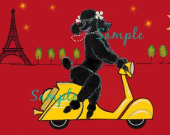 Black Poodle Scooter Eiffel Tower Vintage Style 6 Note Cards with Envelope