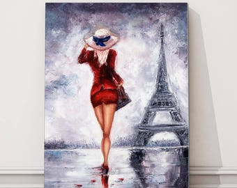 canvas print Lady wearing red in Paris walking to Eiffel tower modern picture Impressionism artwrok