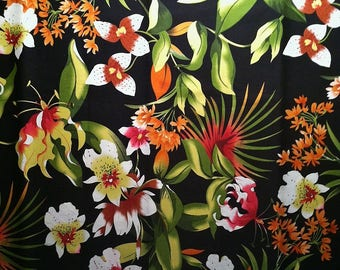 Cotton Fabric | Floral Paradise Quilting Fabric | Vibrant Floral Colors | Tropical Floral Fabric