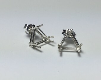 Two Sterling Silver Six Prong Triangle Cast Wire Earring Setting (5X5mm-9X9mm). 162-080
